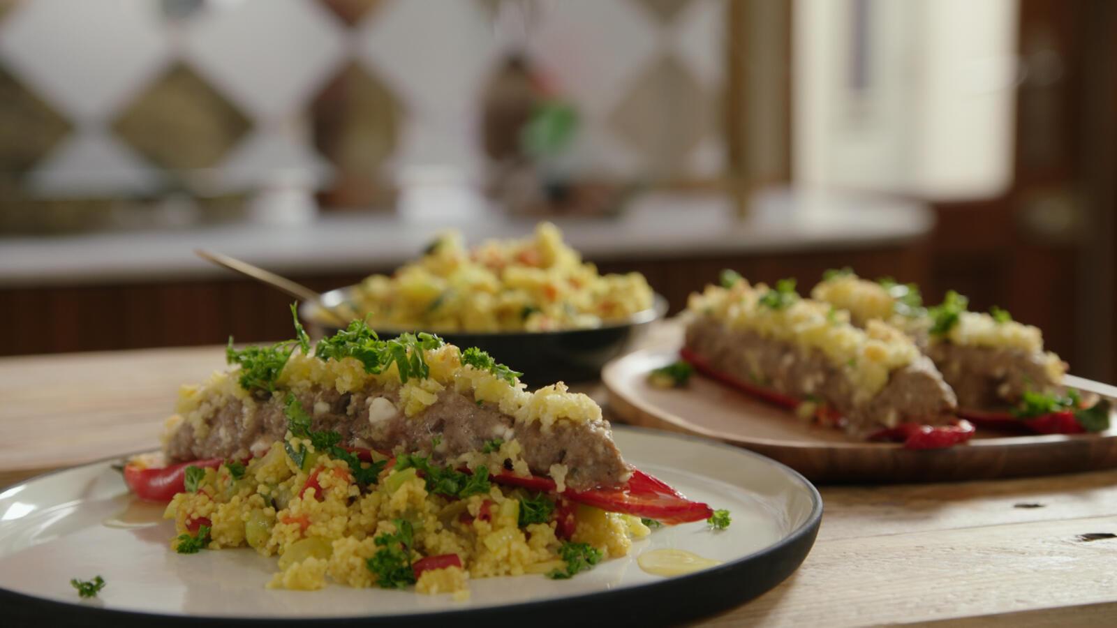 Puntpaprika's met lamsgehakt, feta en couscous