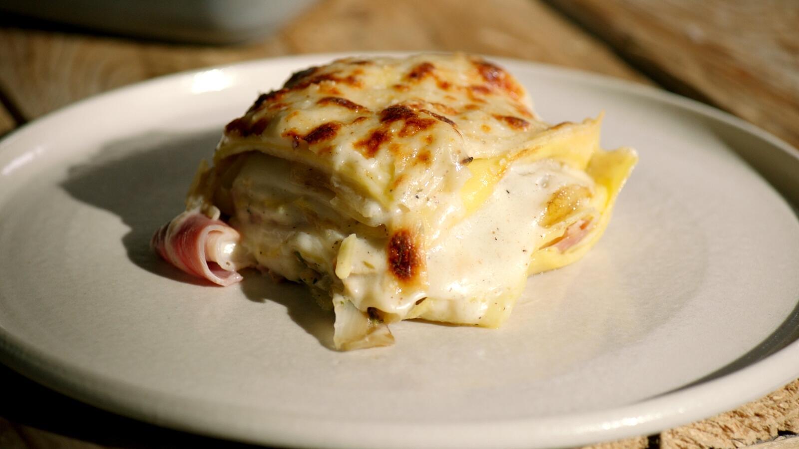 Lasagne met knolselder en gekookte ham