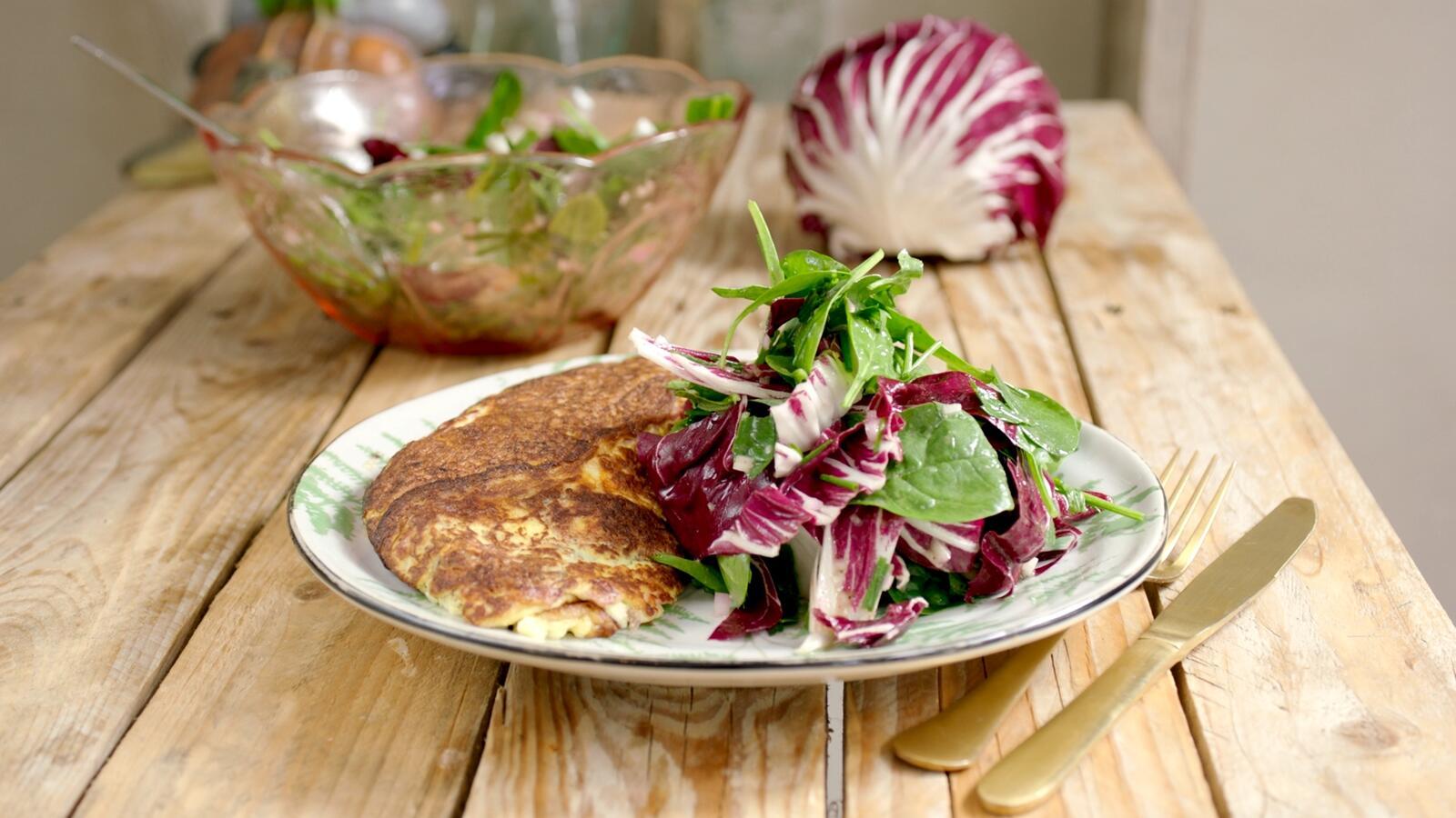 Omelette soufflé met ham en kaas