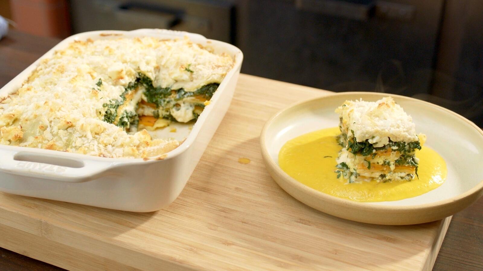 Lasagne met pompoen, spinazie en feta