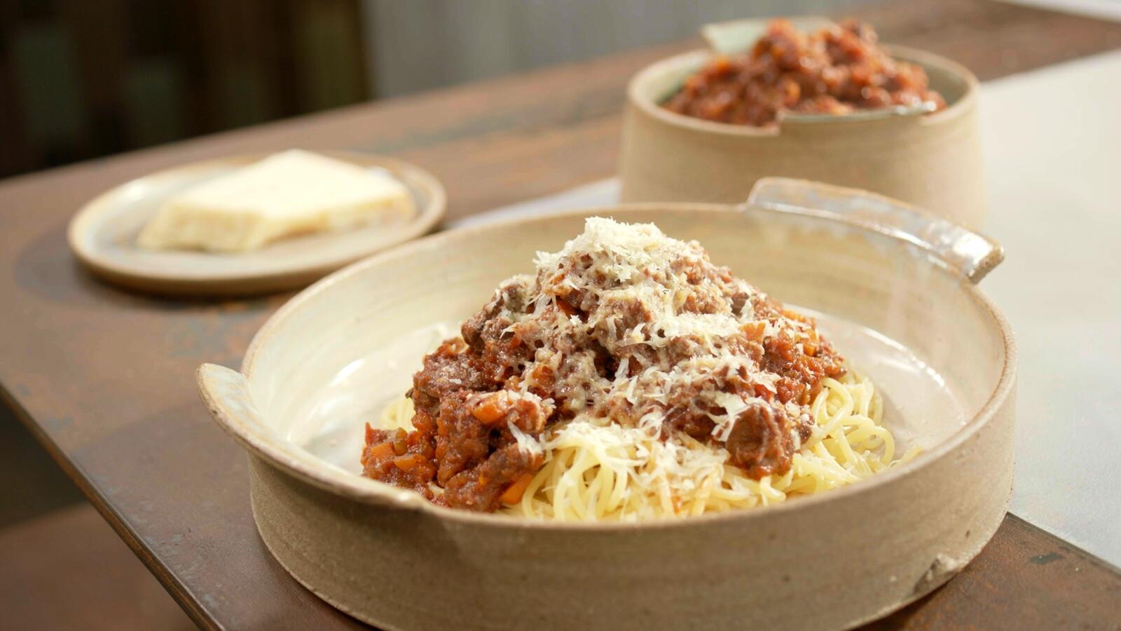 Ragu van schouderstuk met spaghetti