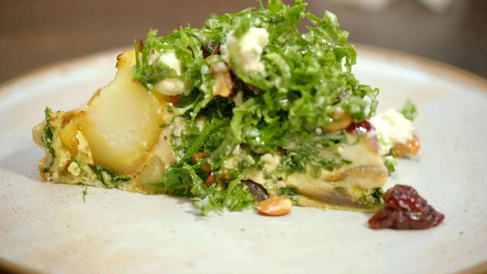 Frittata met aardappel en boerenkool