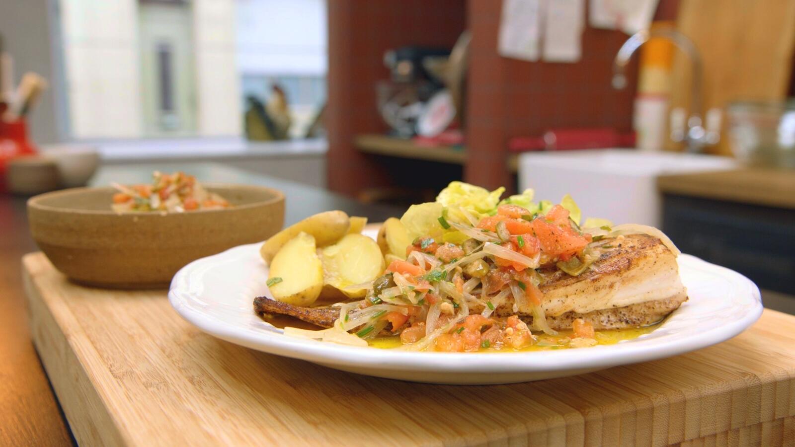 Rog met kappertjesvinaigrette en aardappelen