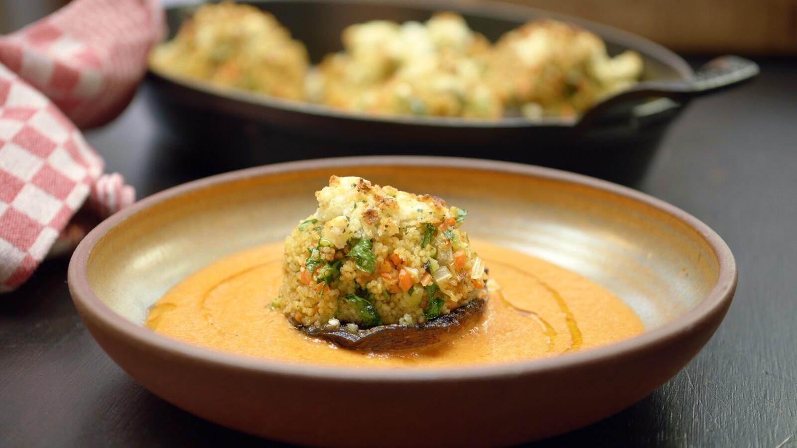 Gevulde portobello's met couscous
