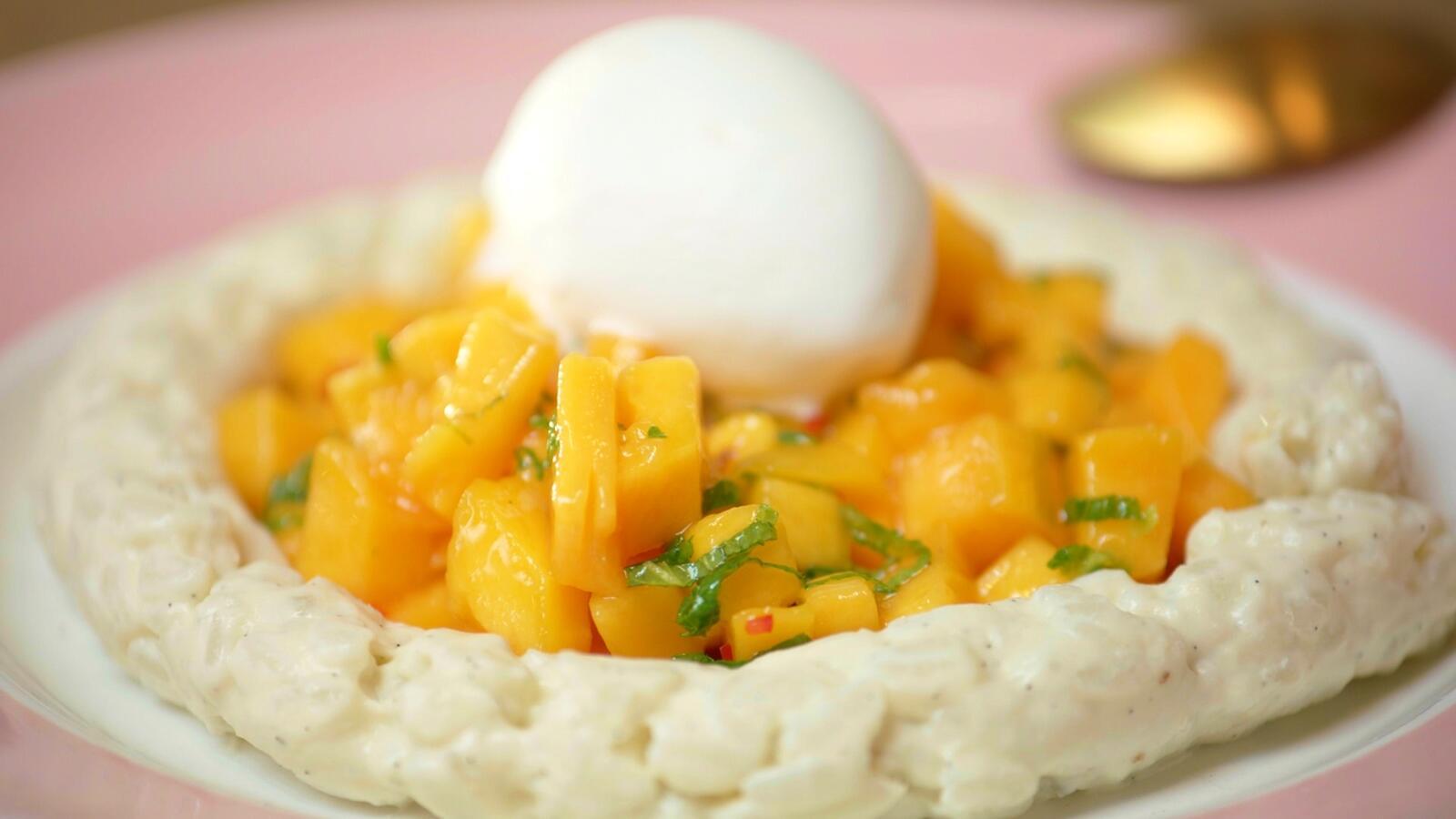 Rijstpap met kokos en mango