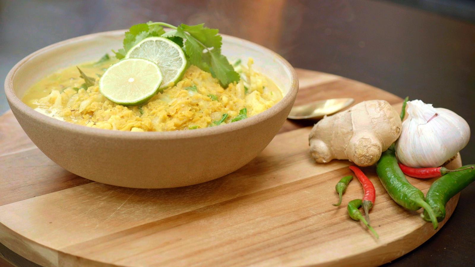 Verse curry met bloemkool en linzen