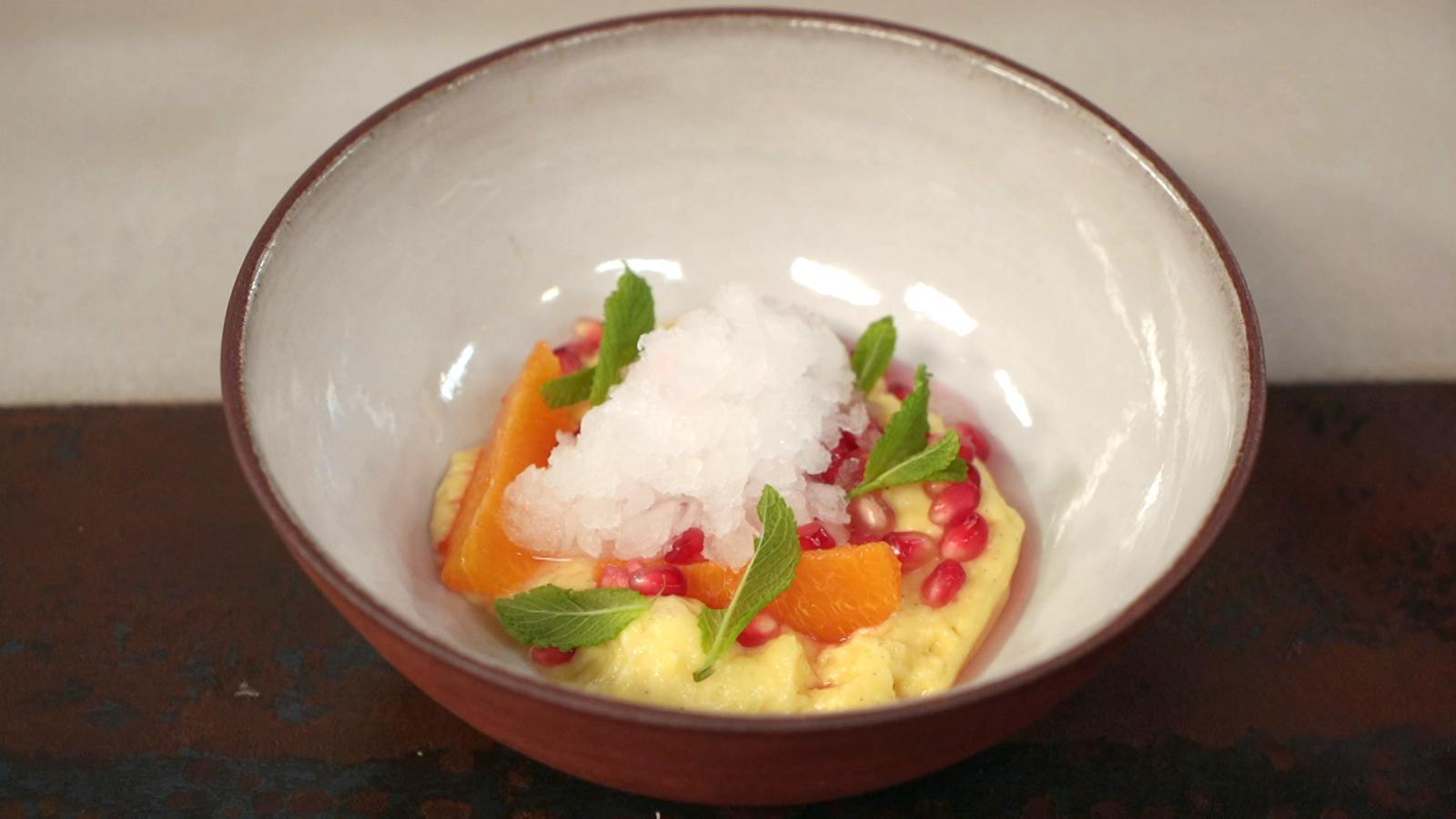 Salade van citrus met crème chiboust en granité van gin-tonic