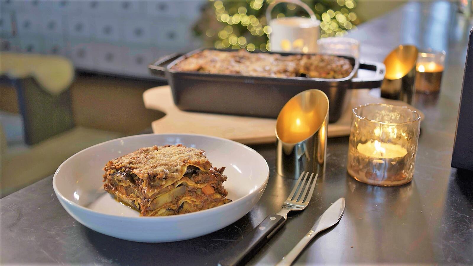 Lasagne met ragù en aubergine