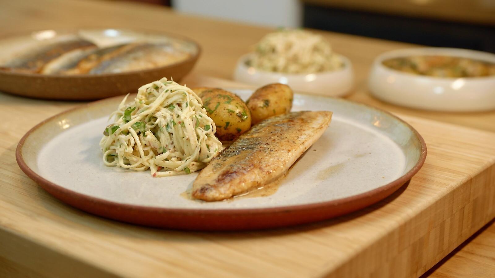 Makreel met remoulade van pastinaak en gebakken krieltjes