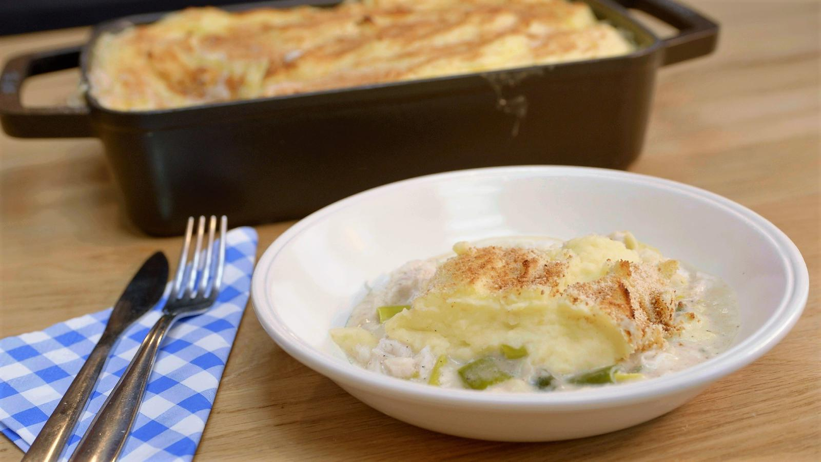 Fish pie met heek en prei