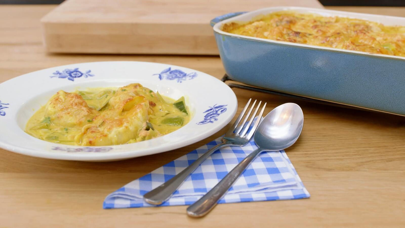 Gevulde pastaschelpen met zalm, prei en curry