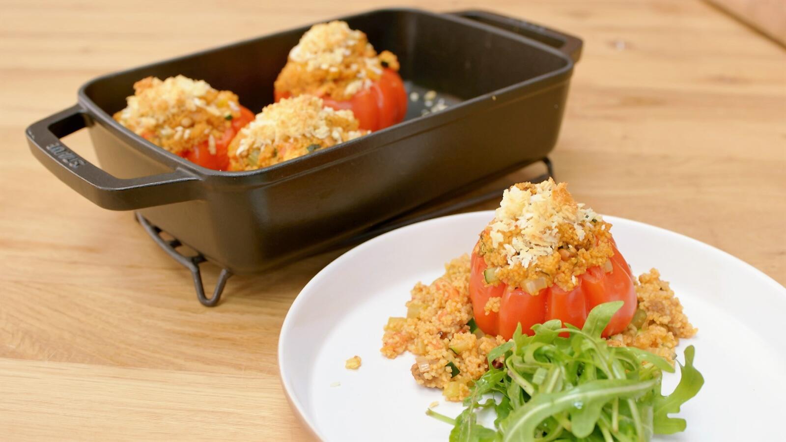 Gevulde tomaten met merguez en couscous