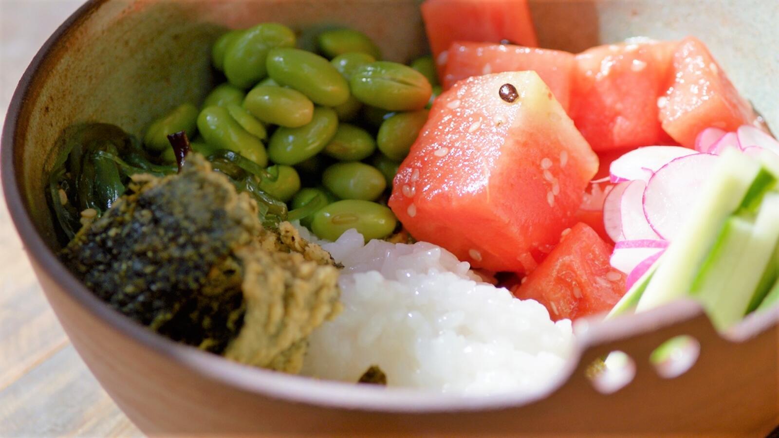 Sushibowl met watermeloen