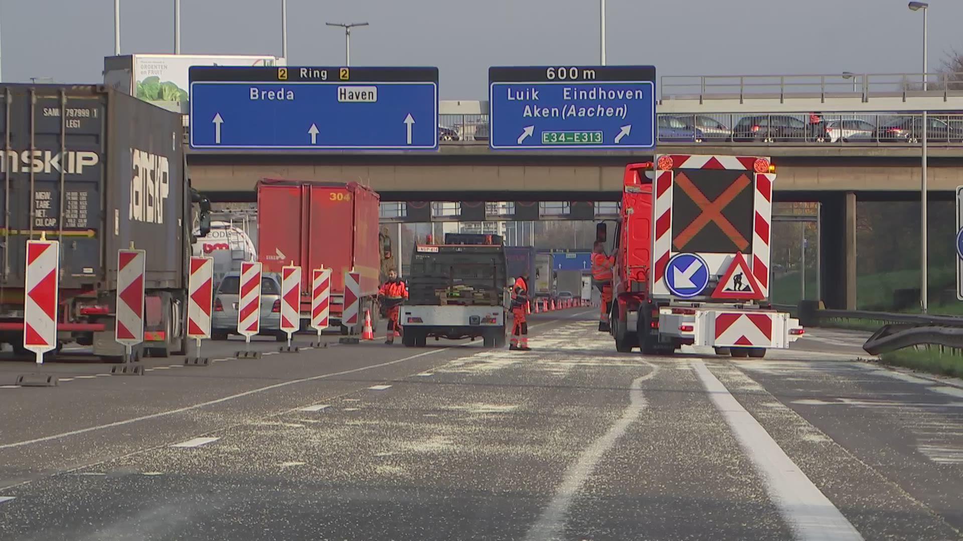 Twee rijstroken op Antwerpse ring blijven ook tijdens avondspits nog dicht