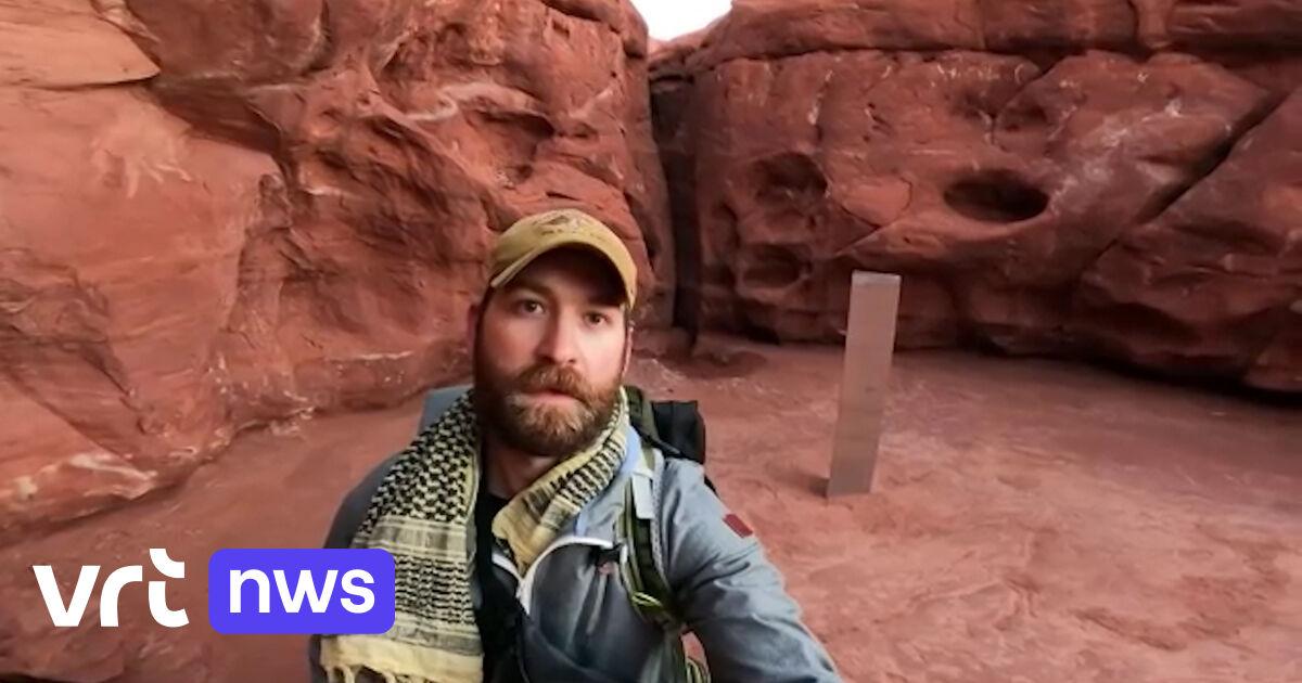 Eerste bezoekers bereiken mysterieuze zuil in de woestijn: «Het klinkt als een kartonnen doos als je erop slaat»