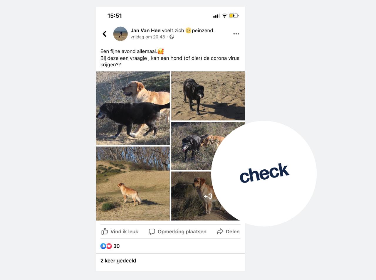 Een facebookbericht waarbij een vrouw foto's van haar hond plaatst samen met de vraag of honden ook het nieuwe coronavirus kunnen overbrengen