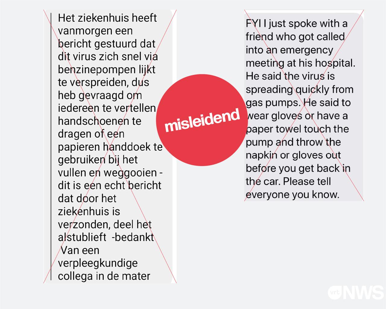 Een screenshot van een Nederlandstalig en Engelstalig bericht waarbij men beweert dat het coronavirus zich razendsnel aan het verspreiden is via tankstations. Dit bevat misleidende informatie.