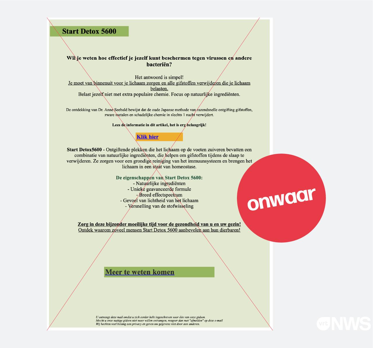 Een mail die rondgaat met een aanbieding voor natuurlijke geneesmiddelen om je te behoeden voor virussen. Dit is oplichting.