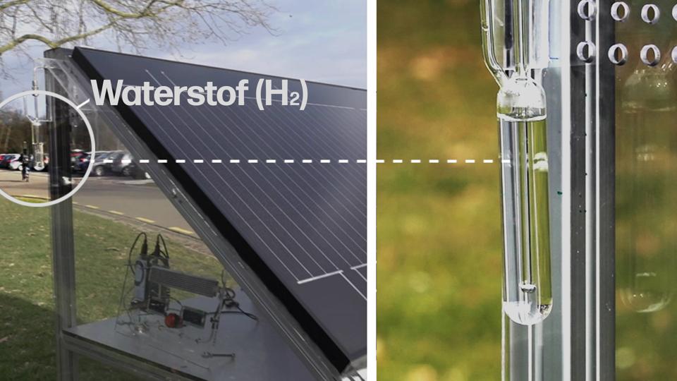 Zo kan het ook. Waterstofgas maken met gebruik van zonnecellen.